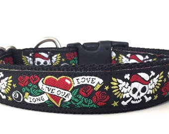 Black Skull Tattoo Ribbon Dog Collar