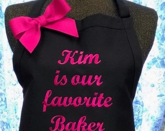 Personalized Quote Apron with Extra Lettering Above Pockets Monogrammed Gift