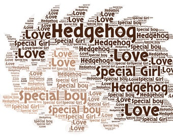 Personalised Hedgehog Word art picture