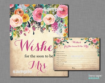 Wishes for the Soon to Be Mrs Printable, Printable Wishes for the Bride Game, Shabby Chic, Bridal Shower Game, Floral Bridal Shower Activity