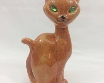 Vintage Cat Figurine With Green Faux Diamond Eyes Brown Glaze Mid Century Collectible Cat Home Decor Asian Decor Collectible