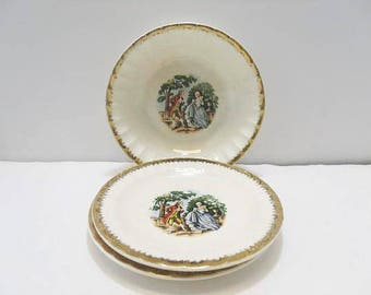 Cronin China Co. Bowl And Saucers /  National Brotherhood Of Operative Potters 1 Cereal Bowl, 2 Saucers