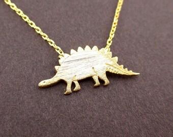 Stegosaurus Dinosaur Shaped Animal Charm Necklace in Gold | Handmade Animal Jewelry