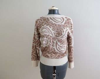 Vintage 1980s Ivory & Camel Paisley Knit Sweater - Womens Bust 35 by Gail's Touch, Ltd (B5)