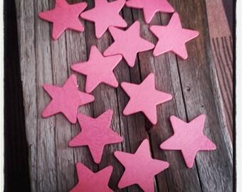 Pink set of 12 wooden stars