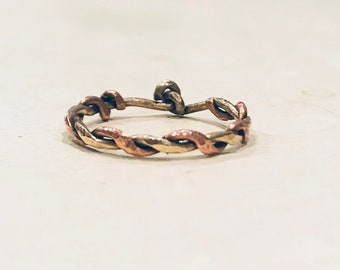 Mixed Metal Twist Band ~ Brass and Copper ~ Brass Twist Gathering ~ Solid Metals ~ Custom Sizing between 2-15 available ~ Artisan Jewelry