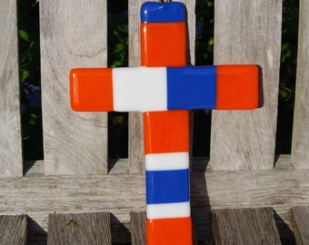 Wall Cross Fused Glass UF Florida Colors - Blue and Orange - Christian Gift - Gators