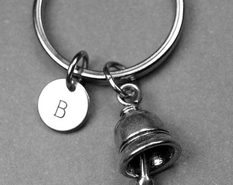 Bell keychain, bell charm, ringing bell charm, wedding bell keychain, personalized gift, initial keychain, initial charm, monogram charm