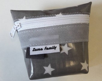 Gray purse with white stars