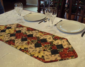 Festive Holiday Quilted Table Runner, Topper or Accent in Beige, Red and Green