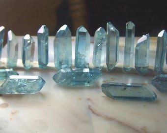 Double Terminated Aqua Aura Crystal - one Quartz Crystal point treated with Gold molecules - small blue stone - wire wrap angel ab raw *w4
