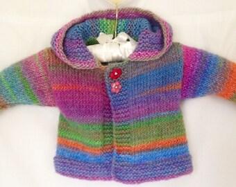 Pastel Baby Sweater, Pastel Sweater, Pastel Spring Sweater, Toddler Girls Sweater, Purple Green & Blue Baby Sweater, Pastel Baby Hoodie