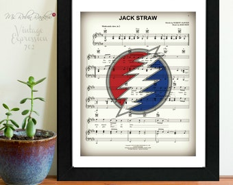 Grateful Dead, Jack Straw, Music Sheet, Print
