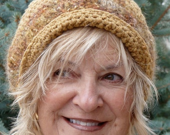 Brown winter hat that's really camel color, unique winter accessories for women, original handcrafted crochet hat with style, creative hats