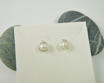 Fresh Water Pearl Studs, Argentium Sterling Silver Wire posts, rubber backs