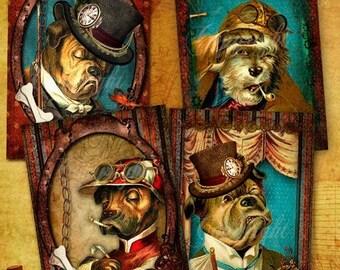 Découpage, Images Steampunk digitales - Les chiens steampunk - Cartes d'art steampunk, Cartes faits main, scrapbook, journal