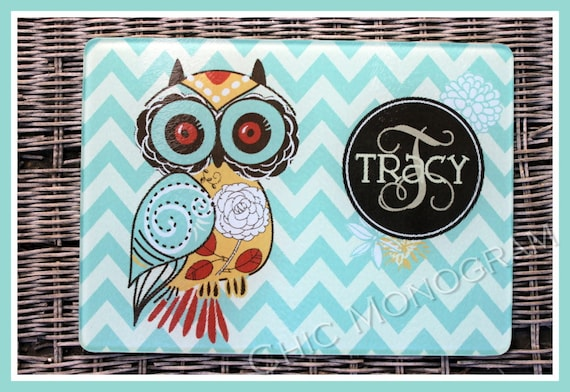 Kitchen Gifts for Mom Personalized Cutting Board Gifts for Cooks Glass Cutting Board Mothers Day Cutting Boards  Owl Cooking Gifts