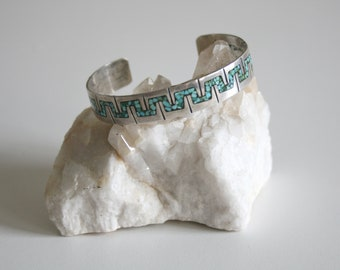 Stamped Native American Crushed Turquoise Cuff
