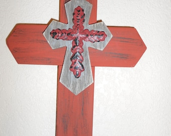 """Rusty red with Brown Cross 13""""x9"""""""