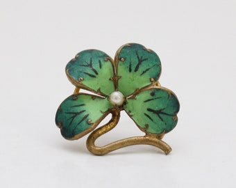 1930s Four Leaf Clover Pin - Vintage 30s Lucky Brooch