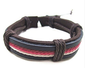 Leather Bracelet with red, white, and purple rope