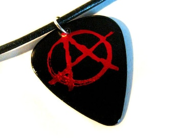 Anarchy Guitar Pick Necklace, black  and red