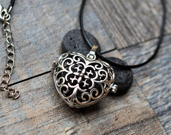 Lava Stone Essential Oil Diffuser Leather or Ball Chain Necklace- Double Sided Celtic Heart- Aromatherapy-With Essential Oil(2ML)
