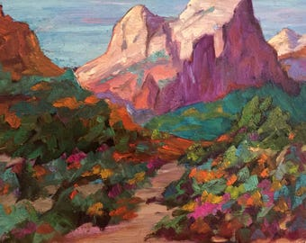Desert Serenity, original 8 x 10 in. oil painting by Liz Zornes, FREE SHIPPING