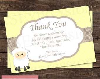 Cute Little Lamb Yellow Neutral Baby Shower Thank You Card