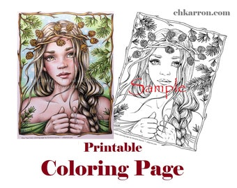 Coloring Page - Pine Tree Fairy illustration Instant Download Printable File