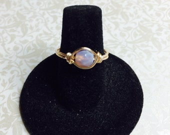 Lavender Opaque wire wrapped ring
