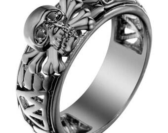 A superb novelty stainless steel skull ring
