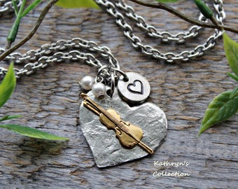 Violin Necklace, Violin Jewelry, Music Teacher Gift, Fiddle Necklace, Musician, Orchestra Jewelry
