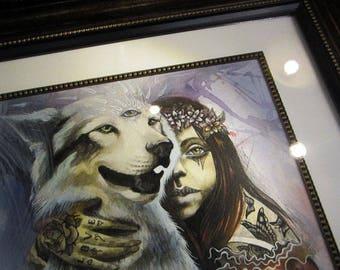 Soul Connection - original artwork, watercolour on paper, framed art, ready to hang, wall art, spirit animal, wolf dog, husky, boho art