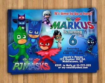 PJ Masks Invitation, PJ Masks Birthday Invitation, PJ Masks Birthday, Pj  Masks Party, Pj Masks, Personalized Pj Masks Invitation