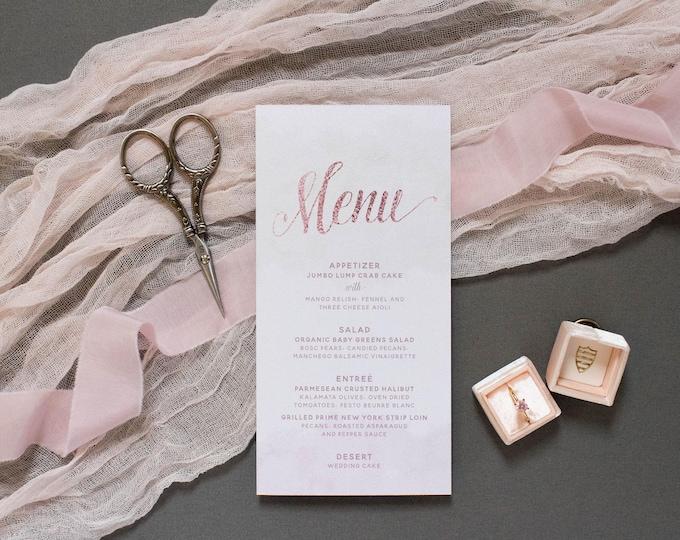 4x8 Blush Pink, Rose Gold and Mint Watercolor Printed Wedding Menu