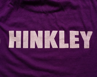 Hinkley Blank Purple T-Shirt, M, 50/50 Blend, Vintage 1980s, Spellout Name, Sportswear Brand