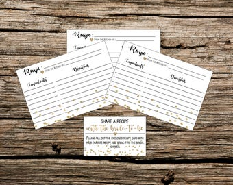 Instant Download - Printable - Bridal Shower Recipe Cards - Gold and White