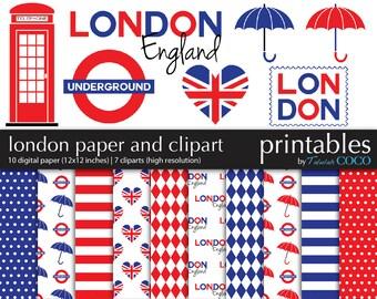 London Digital Paper Pack, England Clip art Digital Scrapbooking Kit, British Flag ClipArt, UK Digital Scrapbook Paper, London Scrapbook Kit