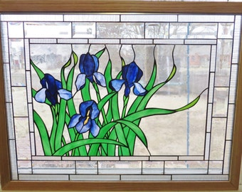 Stained Glass Window Art Nature Panel Wildlife Wren and