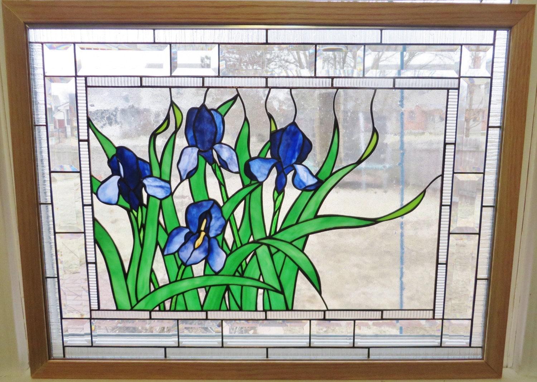 Stained Glass Window Panel Art Purple Blue Iris Flowers