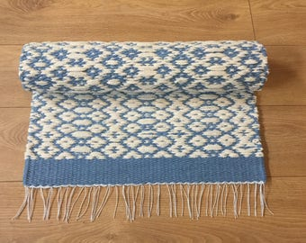 Rugs, blue rugs, Scandinavian rug, cotton kitchen, woven throw, runner rugs, nursery rug,  washable rag rug, modern rugs, ready to ship rug