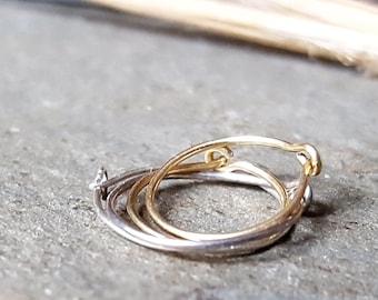 24g hoops-- sterling silver, 14k gold or niobium hoops-- primitive series-- handmade by thebeadedlily