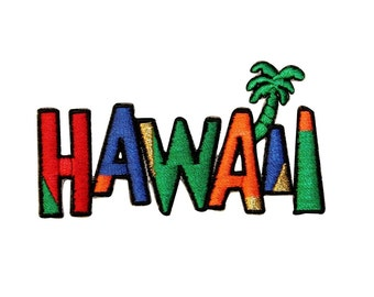 "Tropical Color ""Hawaii"" Travel Patch Island Vacation Souvenir Iron-On Applique"