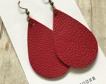 Leather Teardrop Earrings, Deep Red bronze setting