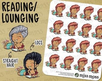 Reading Book Lover Lounging Stickers, TAN Skin, Plus Size Curvy, Hispanic Latina Indian - Erin Condren, Happy Planner, Filofax, Decorative