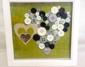 button box frame,Heart Love Frame Button, Embroidery, box frame, love frame, love frame wall art, buttons and fabric mix, mixed media frame