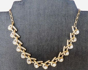 Vintage Gold Tone & Crystal Clear Rhinestone Link Necklace