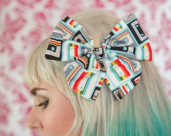 Large Retro Tapes Hair Bow
