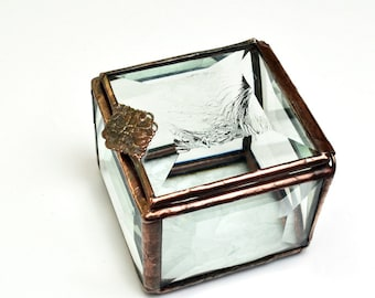 Stained Glass Box Hinged Lid Beveled Glass Treasure Box